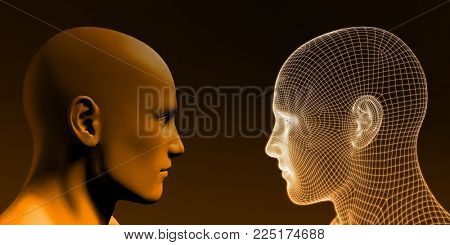 Human Wireframe and Digital Consciousness System Concept 3d Render
