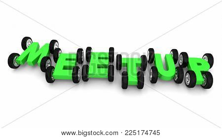 Meetup Join Meeting Participate Cars Wheels Letters 3d Illustration