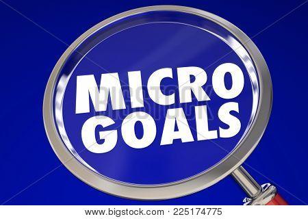 Micro Goals Small Tasks Jobs Magnifying Glass 3d Illustration