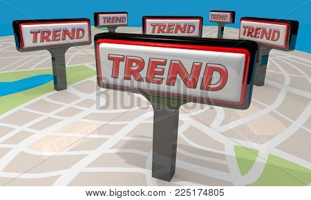 Trend Signs Map Business Stores 3d Illustration
