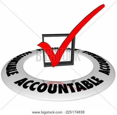 Accountable Check Box Mark Responsibility 3d Illustration