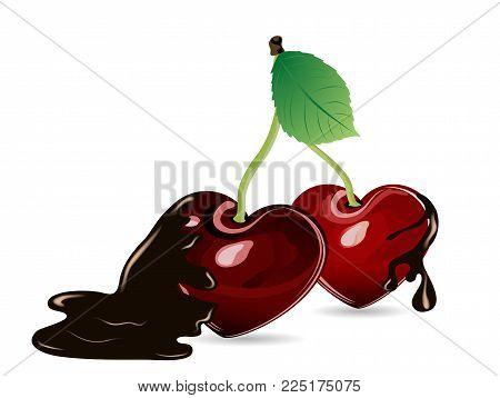 Fresh red cherries as heart in chocolate splash
