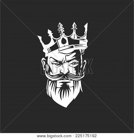 Face of a bearded man in the crown and mustache on black background vector illustration design.