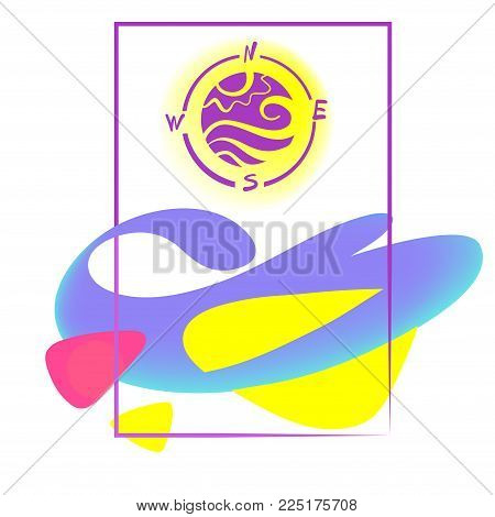 Silhouette of sun and wave stylized in compass with abstract sign. Logo for travel agency, tour bureau. Time to travel. Template concept image for banner, poster, flyer. Sketch vector illustration
