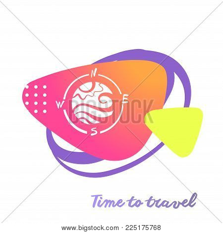 Silhouette of sun and wave stylized in compass with abstract sign. Logo for travel agency, tour bureau. Time to travel. Template concept image for banner, poster, flyer