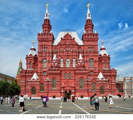MOSCOW-RUSSIA, June 16th, 2017: State Historical Museum  is a museum of Russian history wedged between Red Square and Manege Square in Moscow, Russia