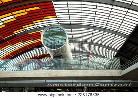 AMSTERDAM-NETHERLAND, Nov. 6, 2017:  Detail architectural of the train station in Amsterdam cetraal in Netherland