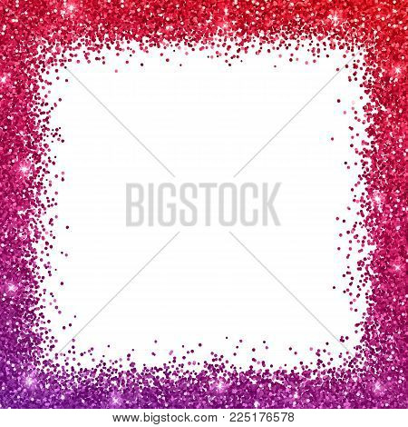 Glitter border frame with red purple color effect on white background. Vector