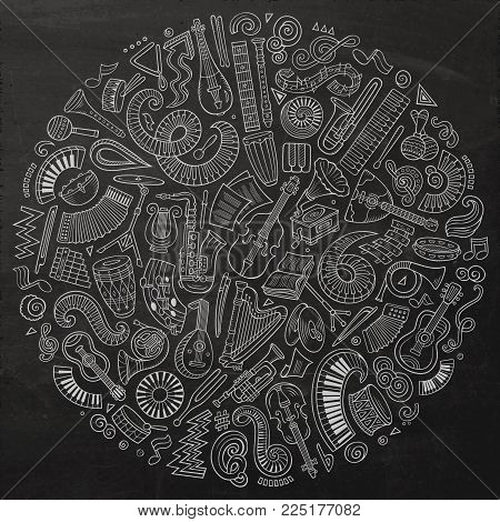 Set of vector cartoon doodle classic musical instruments and objects collected in a circle. Classical music subjects