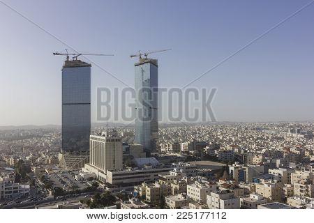 Panoramic View Amman City - Jordan Gate Towers Beautiful Sky Winter