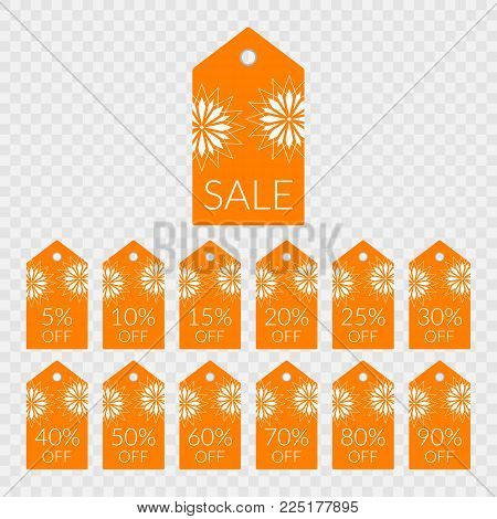 5 10 15 20 25 30 40 50 60 70 80 90 percent off shopping tag vector icons. Illustration labels set for sale. Isolated orange and white discount symbols for merchandise, store, shop, decoration, design