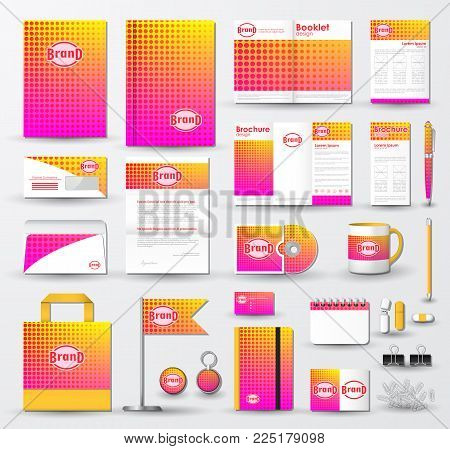 Corporate identity template set. Business stationery mock-up with pink halftone effect on  blurred background and logo. Branding design.