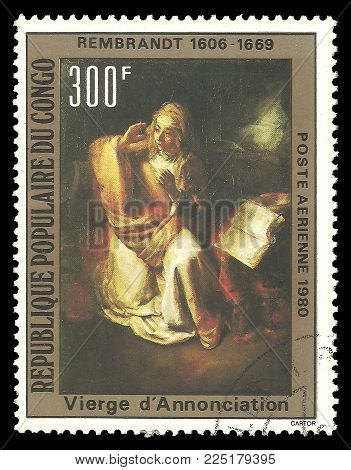Congo - circa 1980: Stamp printed by Congo, Color edition on Art, shows Painting Annunciation by Rembrandt, circa 1980