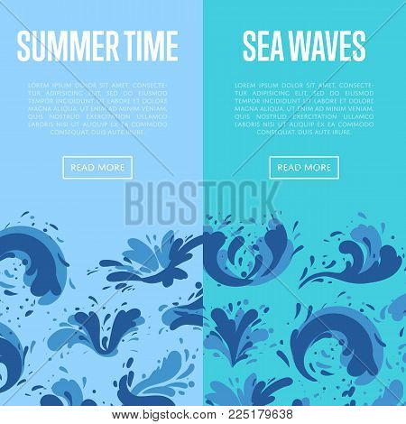 Sea Waves Flyers With Water Splash Elements. Summer Rest And Marine Leisure, Natural Nautical Design