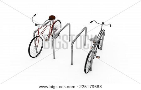 Bikes at a parking place, Bicycles, Bike theme elements, Street speed sport bicycle, Bikes isolated on white background - 3d Rendering
