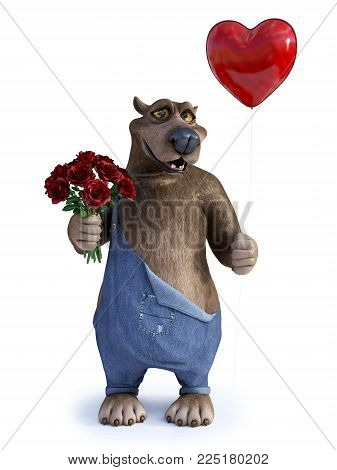 3D rendering of a charming smiling cartoon bear holding a heart shaped red balloon in one hand and a bouquet of roses in the other. Ready for Valentines day! White background.