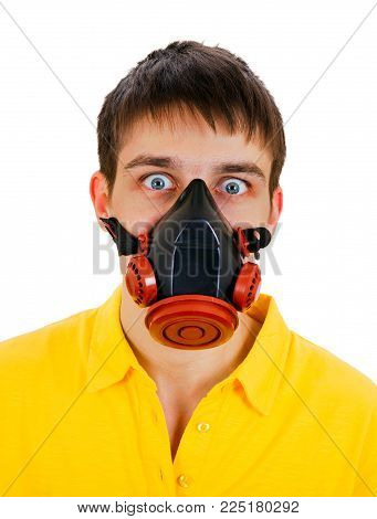 Shocked Young Man in Gas Mask on the White Background closeup