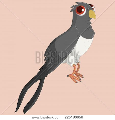Cute curious swallow with red eyes. Vector illustration