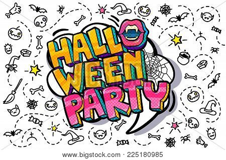 Halloween illustration. Open mouth with fangs and Halloween Party Message in pop art style. Vector illustration.