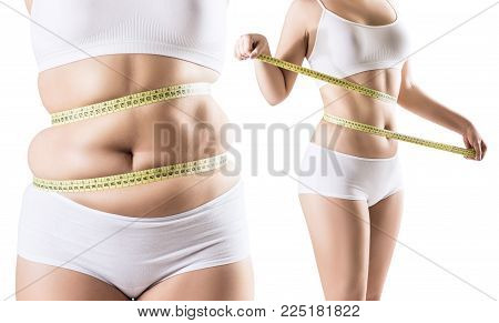 Collage of woman before and after diet and weight loss. Isolated on white background