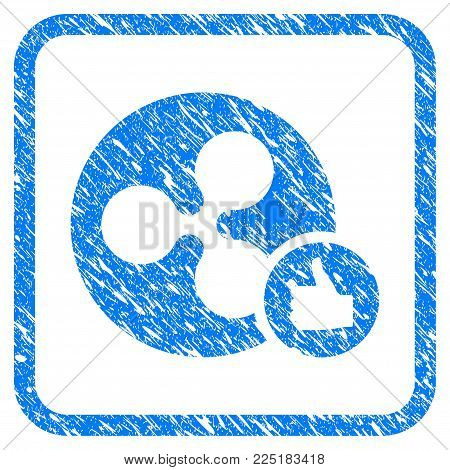 Ripple Coin Thumb Up rubber seal stamp watermark. Icon vector symbol with grunge design and dirty texture inside rounded frame. Scratched blue emblem on a white background.