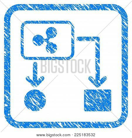 Ripple Cashflow rubber seal stamp imitation. Icon vector symbol with grunge design and dirty texture in rounded rectangle. Scratched blue sign on a white background.