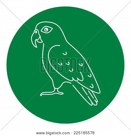 Pionus parrot icon in thin line style. Exotic tropical bird symbol in round frame.