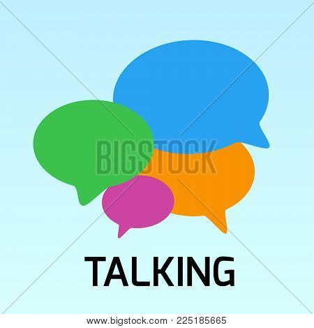 Vector illustration - Hand drawn speech bubble. Talking bubble colorful. Empty color bubbles on blue background.