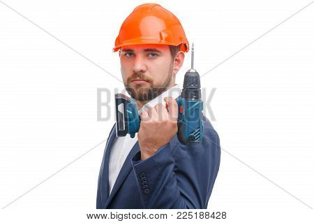 Workman with screwdriver. Man in hardhat holding screwdriver