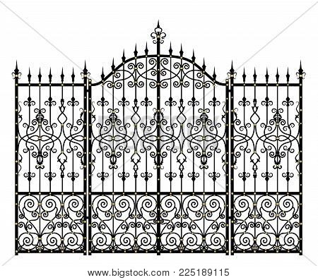 Black Vintage wrought-iron gates and fence on a white background