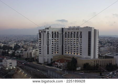 Amman, Jordan - february 1, 2018: View of Fairmont - Luxury Hotel. Fairmont amman,