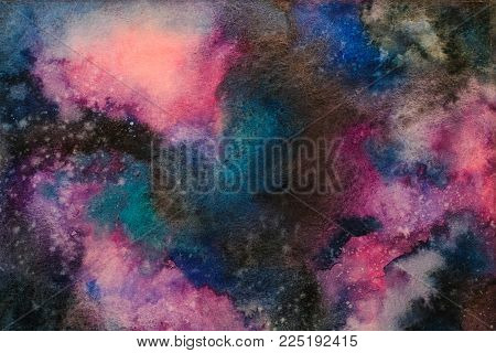 Watercolor painting space background, Abstract galaxy watercolor hand painting,Cosmic night with star textured background