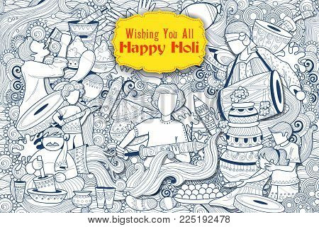 illustration of colorful Happy Holi Doodle Background for Festival of Colors celebration greetings