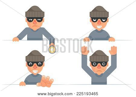 Greedily evil thief grabbing hand flashlight peeping out surrender give up characters cartoon set flat design isolated vector illustration