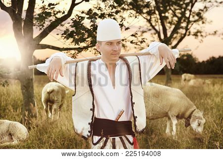 proud shepherd in traditional Albanian costume tend sheeps in the evening sunlight
