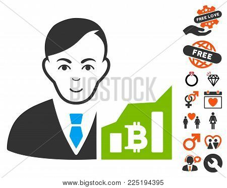Bitcoin Trader icon with bonus amour design elements. Vector illustration style is flat iconic symbols.