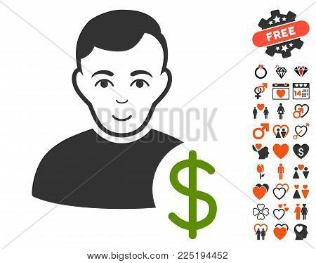 User Dollar pictograph with bonus lovely graphic icons. Vector illustration style is flat iconic symbols.