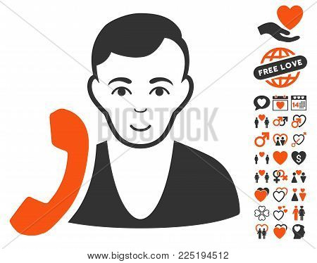 Receptionist pictograph with bonus lovely pictures. Vector illustration style is flat iconic symbols.