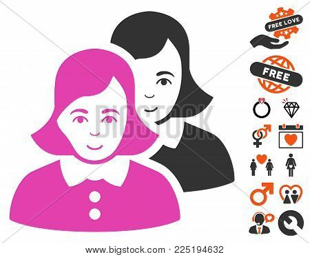 Women pictograph with bonus dating pictograph collection. Vector illustration style is flat iconic symbols.
