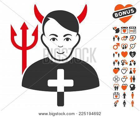 Satan Priest icon with bonus passion images. Vector illustration style is flat iconic symbols.