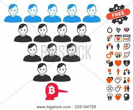 Bitcoin Ponzi Pyramid Manager icon with bonus marriage icon set. Vector illustration style is flat iconic symbols.
