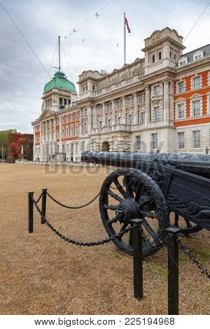 A military trophy -Turkish cannon captured in Egypt in 1801 at Horse Guards Parade with Old Admiralty Building in background, Whitehall, Central London, UK
