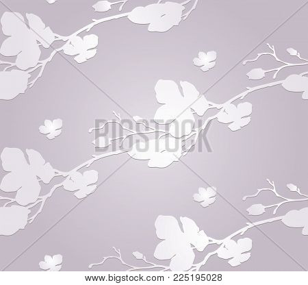 Vector Subtle Paper Craft Decorative Seamless Background Pattern with Drawn Flowers, Cherry Blossom with Shade. Hand Drawn. Vector Illustration with Pattern Swatch