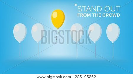 Stand Out From The Crowd Vector. Outstanding Balloon Different From Other. Business Success. Good Idea, Leadership. Flat Illustration