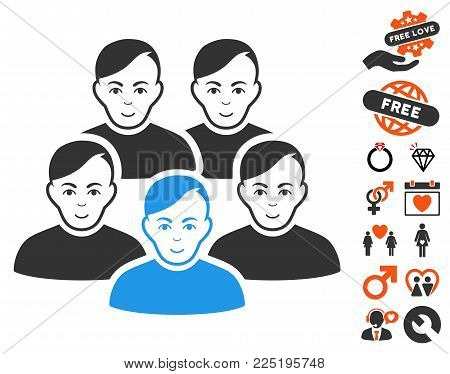 Men Collective icon with bonus decorative images. Vector illustration style is flat iconic symbols.