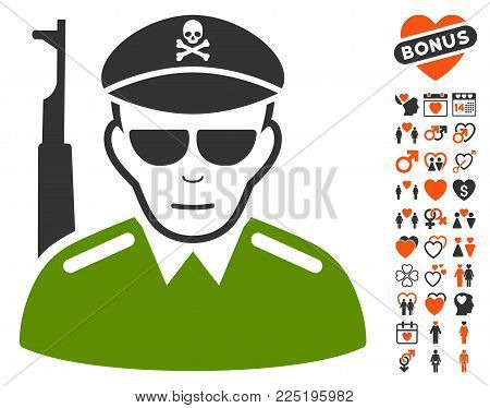 Evil Army Soldier icon with bonus amour design elements. Vector illustration style is flat iconic symbols.