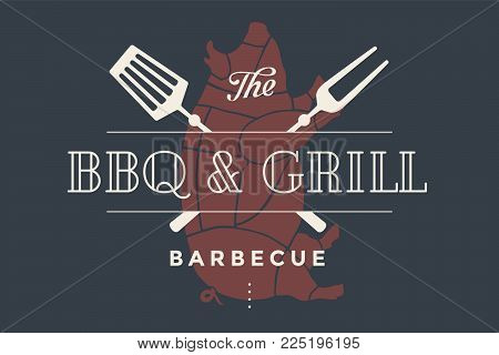 Logo template of bbq grill meat restaurant with grill symbols, text BBQ, Grill, Barbecue. Brand graphic template for meat business or design - menu, poster, banner, label. Vector Illustration