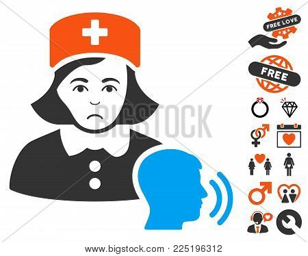 Psychotherapist Nurse Talking icon with bonus amour symbols. Vector illustration style is flat iconic symbols.