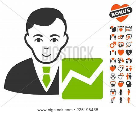 Stock Trader icon with bonus passion images. Vector illustration style is flat iconic symbols.