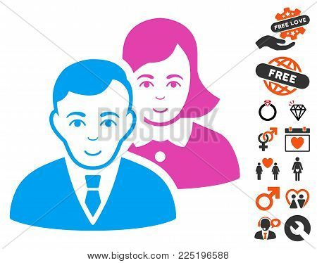 People Pair pictograph with bonus amour icon set. Vector illustration style is flat iconic symbols.